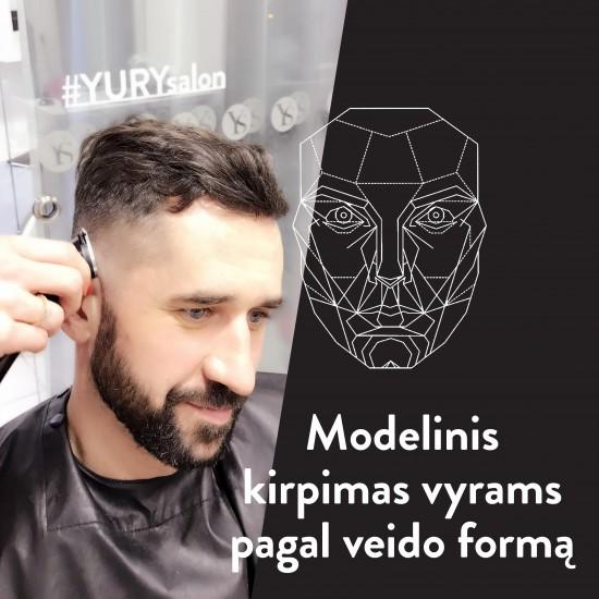 Vyriškas modelinis kirpimas pagal veido formą