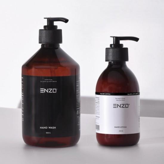 Rankų prausiklis ENZO Hand Wash 500 g + DOVANA Rankų losijonas ENZO Hand Lotion 250g