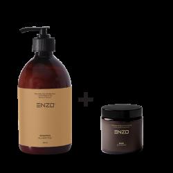 Šampūnas visų tipų plaukams ENZO All Hair Types Shampoo 500 g +Plaukų kaukė ENZO Mask Deep Repair 100 g