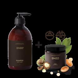 Šampūnas sausiems plaukams ENZO Shampoo Dry Hair 250 g + Plaukų kaukė ENZO Mask Deep Repair 100 g